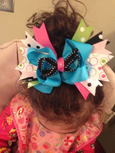 LARGE Stacked Boutique Hair bow birthday. $8.00, via Etsy.