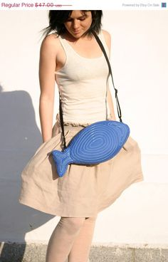 ON SALE Fish Bag Fish Purse Electric Blue Summer Bag by Marewo, $42.30