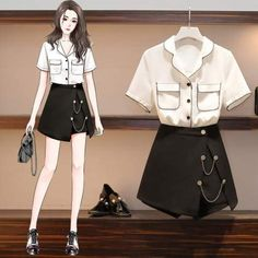 Casual College Outfits, Cute Casual Outfits, Stylish Outfits, Girls Fashion Clothes, Teen Fashion Outfits, Girl Outfits, Fashion Drawing Dresses, Fashion Illustration Dresses, Korean Girl Fashion