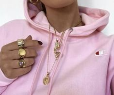 22 images about fashion: necklaces on We Heart It Pink Outfits, Trendy Outfits, Fashion Outfits, Womens Fashion, Pink Champion Hoodie, Cute Fashion, Gold Fashion, Cute Jewelry, Fashion Necklace