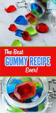 A REAL chewy, shelf-stable gummy recipe that is super duper easy to make, tastes amazing and uses easy to find ingredients that are carried at most grocery stores. Mix up the flavors and colors for endless gummy combinations! Homemade Gummy Bears, Homemade Gummies, Homemade Candies, Jello Gummies Recipe, Gummy Bear Recipe With Jello, Jello Jigglers, Snack Recipes, Dessert Recipes, Ideas Party