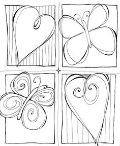 Heart and butterfly frame doodles