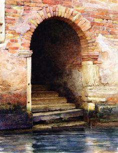 Old Doorway Venice Painting by Charles Herbert Moore | Oil Painting