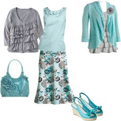 Aqua and Gray, created by foglemans on Polyvore