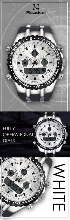 Men's White Military LED quartz watches - Readeel luxury sport timepiece watch - Men's wear brand style fashion affordable accessories #menswatches #watches #mensstyle  #mensaccessories #menstyle