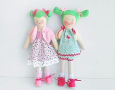 Lola  OOAK Soft doll. Unique green haired rag doll by jesuismimi