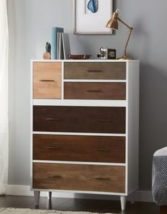 A six drawer dresser with mismatched drawers that'll put boring solid dressers to shame. 27 Pieces Of Furniture From Overstock That Prove Style *Can* Be Affordable Repurposed Furniture, Rustic Furniture, Antique Furniture, Outdoor Furniture, Furniture Plans, Home Furniture, Six Drawer Dresser, Dressers, Painting Wooden Furniture