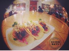 TACO. TUESDAY. TONIGHT. at @sevenbays  Taco Tuesday's is still going strong! Come by after 5 and crush some tasty tacos made with fresh hand pressed corn tortillas and slow cooked pork. (Veggie option available). Tonight our V7 beer for only $6 with the purchase of tacos! Word.  #tuesdaytradition #tacotuesday #sevenbayscafe