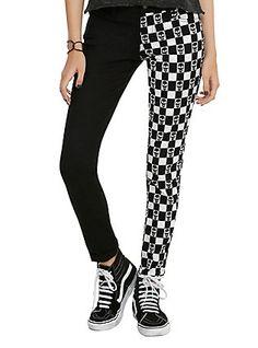 Royal Bones By Tripp Black & White Checkered Skull Split Leg Skinny Jeans, , hi-res