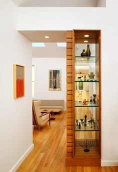 glass shelves in doorway. Good use of space?