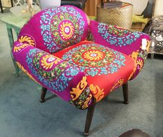 Boho brightly embroidered Chair Waiting Rooms, Room Chairs, Accent Chairs, Bohemian, Bright, Furniture, Home Decor, Upholstered Chairs, Decoration Home