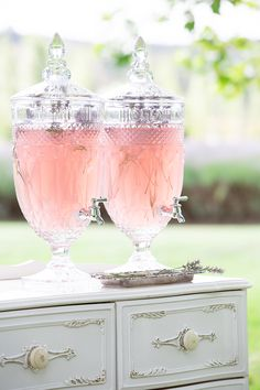 Cut glass dispensers for post-ceremony drinks | Agent 86 Photography | See more: http://theweddingplaybook.com/french-provincial-wedding-inspiration/