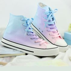 Harajuku gradient hand-painted canvas shoes sold by Asian Cute {Kawaii Clothing}. Shop more products from Asian Cute {Kawaii Clothing} on Storenvy, the home of independent small businesses all over the world. Pastel Converse, Galaxy Converse, Pastel Shoes, Diy Converse, Pastel Clothes, Cute Converse Shoes, Converse High Tops Colors, Cute Clothes, Colored Converse