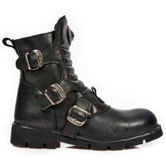 M.1472-S3 Gothic Metal laars met gespen en schoenveters zwart