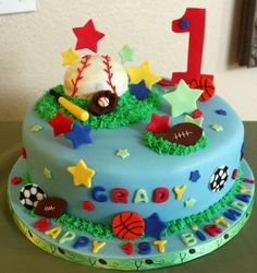 boys sports first birthday cake