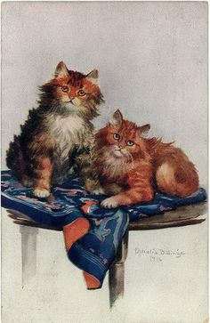 2 cats - by Ophelia Billinge - 1916