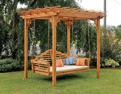 There you can make design by adding woods and join with each other to create strength in top of pergola design. Between the spaces of every two posts, you can add swings hanging with posts from the upper side. You can add cushions to make them more comfortable.