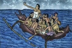 Meredakan Angin Ribut (Calm the Storm) by Ketut Lasia (Bali) Christian Memes, Christian Art, Jesus Calms The Storm, Rainbow Serpent, Holy Saturday, Miracles Of Jesus, Calming The Storm, Book Of Kells, Image Painting