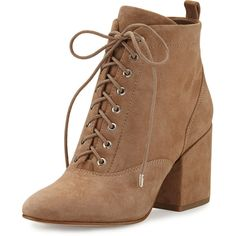 Sam Edelman Tate Suede Chunky-Heel Bootie ($180) ❤ liked on Polyvore featuring shoes, boots, ankle booties, oatmeal, lace up high heel booties, suede ankle boots, high heel boots, lace-up ankle boots and chunky heel booties