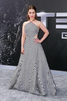 Dress du Jour: Emilia Clarke in Rosie Assoulin Striped Gown - Hollywood Reporter