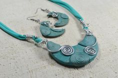 Parure Necklace earrings polymer clay aluminum by Violanima