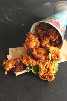 Onion Pakoras with Tamarind Chutney >>HAVE MADE. Crispy, tasty and very satisfying! (We used store-bought chutney but will try that part of the recipe if we ever need to. Indian Snacks, Indian Food Recipes, Asian Recipes, Vegetarian Recipes, Cooking Recipes, Indian Appetizers, Tamarind Recipes Vegan, Rice Recipes, Cooking Tips
