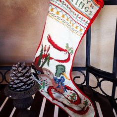 Needlepoint #Christmas stocking from #Goodwill. #thrift #decor