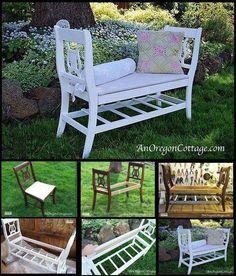 Old chair bench Diy Furniture Table, Outdoor Garden Furniture, Refurbished Furniture, Repurposed Furniture, Furniture Projects, Furniture Makeover, Outdoor Decor, Repurposed Wood, Furniture Websites