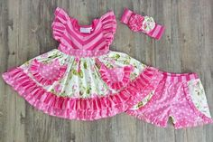 Serendipity Clothing Wild Rose Flutter Tunic & icing shortie set (style 1864)