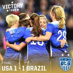 """FT: USA 1, BRA 1. Late goal from Carli Lloyd ties game. The #USWNT now heads to Orlando to play its second match against Brazil on 10/25. #VictoryTour"" Photo taken by @ussoccer_wnt on Instagram, pinned via the InstaPin iOS App! http://www.instapinapp.com (10/21/2015)"