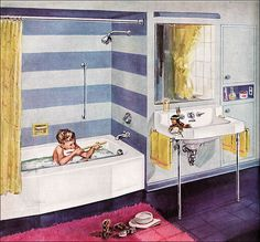 1953 Kohler Bathroom    Kohler liked to feature their fixtures with adorable kids. This ad appeared in American Home.