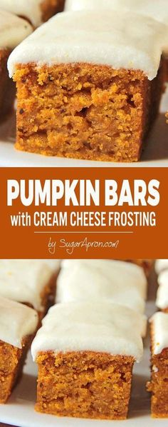 perfect fall dessert, delicious pumpkin bars with cream cheese frosting.A perfect fall dessert, delicious pumpkin bars with cream cheese frosting. Low Carb Dessert, Dessert Bars, Dessert Food, Brownie Desserts, Just Desserts, Health Desserts, Health Foods, Sweet Desserts, Fall Baking
