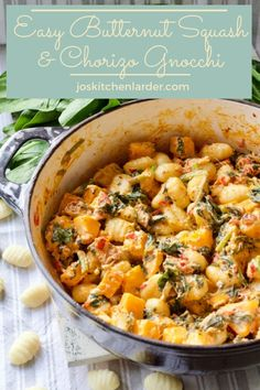 Easy Butternut Squash & Chorizo Gnocchi - If you are looking for the best sauce for gnocchi you've come to the right place! This easy butte - Best Sauce For Gnocchi, Gnocchi Sauce, How To Cook Gnocchi, Gnocchi Pasta, Yummy Pasta Recipes, Gnocchi Recipes, Dinner Recipes, Cooking Recipes, Healthy Recipes