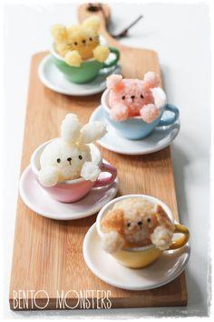 Bento animal onigiri in a teacup. Kawaii Bento, Japanese Food Art, Japanese Sweets, Cute Food, Yummy Food, Cute Bento Boxes, Bento Recipes, Cute Desserts, Aesthetic Food