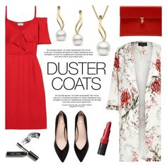"""Long Layers: Duster Coats"" by pearlparadise ❤ liked on Polyvore featuring River Island, Paul & Joe, Alexander McQueen, Bobbi Brown Cosmetics, contestentry, pearljewelry, DusterCoats and pearlparadise"