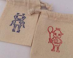 Robot Favor Bags: Muslin Bags With Red and Blue Robot Design, Robot Party Supplies Robot Clipart, Muslin Bags, Robot Design, Favor Bags, Red And Blue, Party Supplies, Favors, Clip Art, Handmade