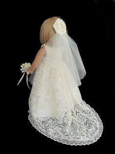 American Girl Doll Clothes Ivory Lace Wedding Gown by SewSoNancy, $25.00