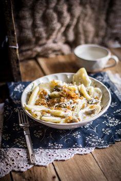 Cencioni Pasta With Caramelized Shallots In A Creamy Mushroom Sauce