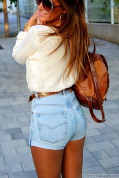high waisted shorts + sweater + backpack