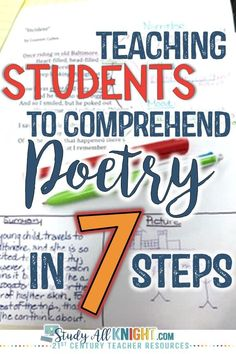 Teaching students to understand poetry does NOT need to be a challenge. See the seven steps that break it down and make it manageable. These seven steps will work great for your 6th, 7th, 8th, 9th, 10th, 11th, & 12th grade classroom or home school students. Use this for Literature lessons, a poetry unit, during National Poetry month in April, for test prep, and much more. #poetry #poetrylessons #iteachmiddleschool #middleschool