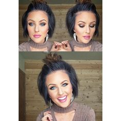 Recreated my makeup look from last night on Facebo Short Hair Cuts, Short Hair Styles, Haircut And Color, Big Hair, Hair Highlights, Hair Dos, Pretty Hairstyles, Teenage Hairstyles, Hair Inspiration