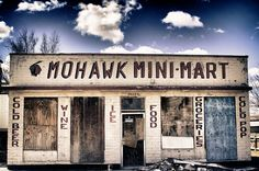 Mohawk Mini-Mart, in the tiny town of Oro Grande, California, in the Mojave Desert.  Join me & my dog Colby as we explore the rest of Route 66 from West to East -- http://ObsessiveHobbyist.com .   Photo by Stephanie Roberts, http://ObsessiveHobbyist.com