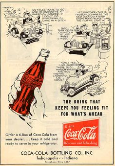 """Great Depression Era (1927) Coca Cola Ad """"The drink that keeps you feeling fit for what's ahead"""""""