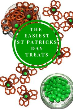 DIY : Make these St Patricks Day treats in a few simple steps. All you need are twist pretzels, green MandM's and Rolo candy.