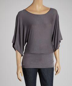 J-MODE Gray Cape-Sleeve Top - Women by J-MODE #zulily #zulilyfinds