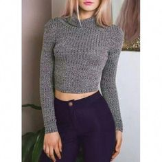Women 2 Colors Turtleneck Silm Tight Knitted Cropped Sweater Long Sleeve Sexy New Fashion Short Jumper Pullover Cropped Knit Sweater, Long Sleeve Sweater, Gray Sweater, Turtleneck Outfit, Crop Tops, Up Girl, High Collar, Long Sleeve Crop Top, Outfits For Teens