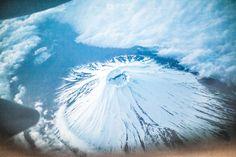 FUJI SAN - fuji mountain, Japan Aerial view from airplane.