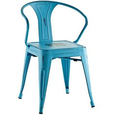 Modern Contemporary Industrial Distressed Antique Vintage Style Kitchen Dining Chair, Blue, Metal