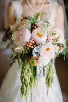 Peony Bouquet | Romantic Wedding with Beautiful Blooms | Two Birds Photography | Bridal Musings Wedding Blog 0