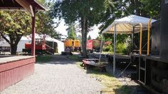 Tents are up at the Snoqualmie Depot in preparation for Day Out With Thomas at the Northwest Railway Museum.
